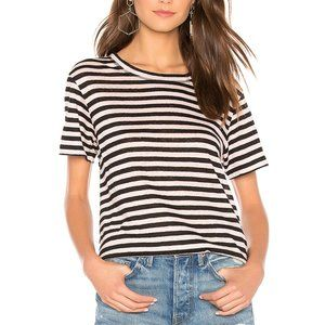 Sanctuary Sutton Pink Black Stripe Linen Top NWT